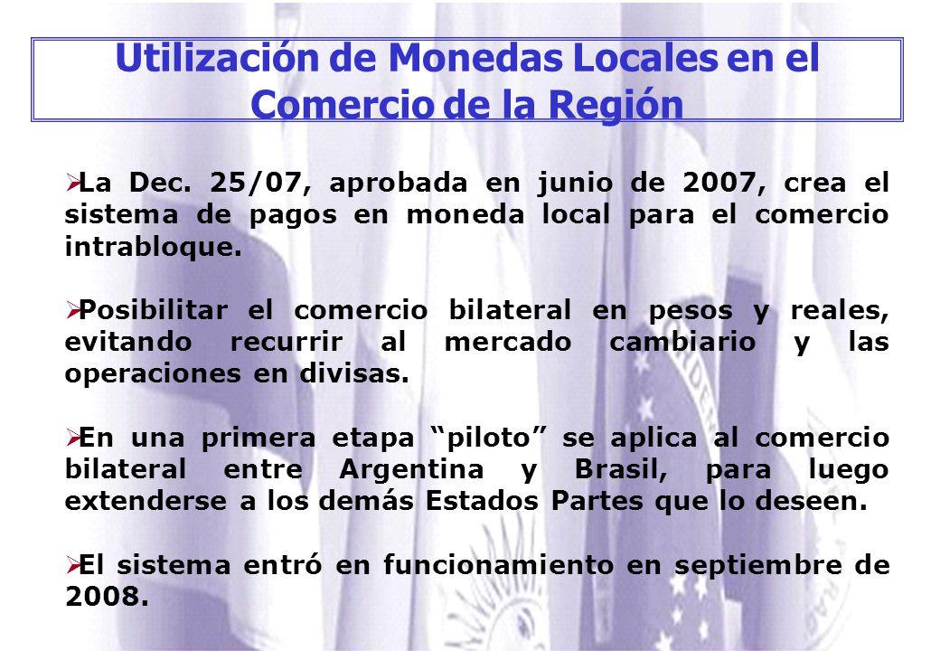 Utilización de Monedas Locales en el Comercio de la Región