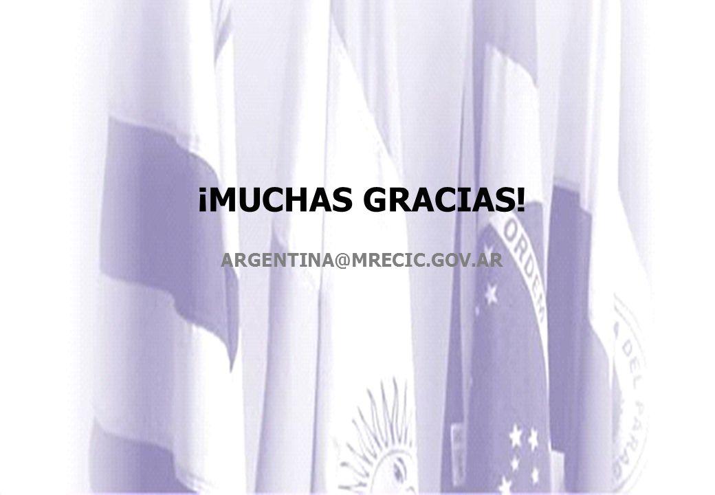 ¡MUCHAS GRACIAS! ARGENTINA@MRECIC.GOV.AR