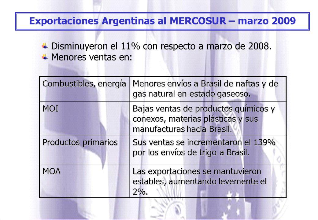 Exportaciones Argentinas al MERCOSUR – marzo 2009