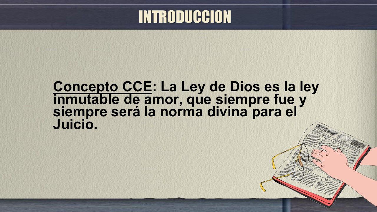 INTRODUCCION Concepto CCE: La Ley de Dios es la ley inmutable de amor, que siempre fue y siempre será la norma divina para el Juicio.