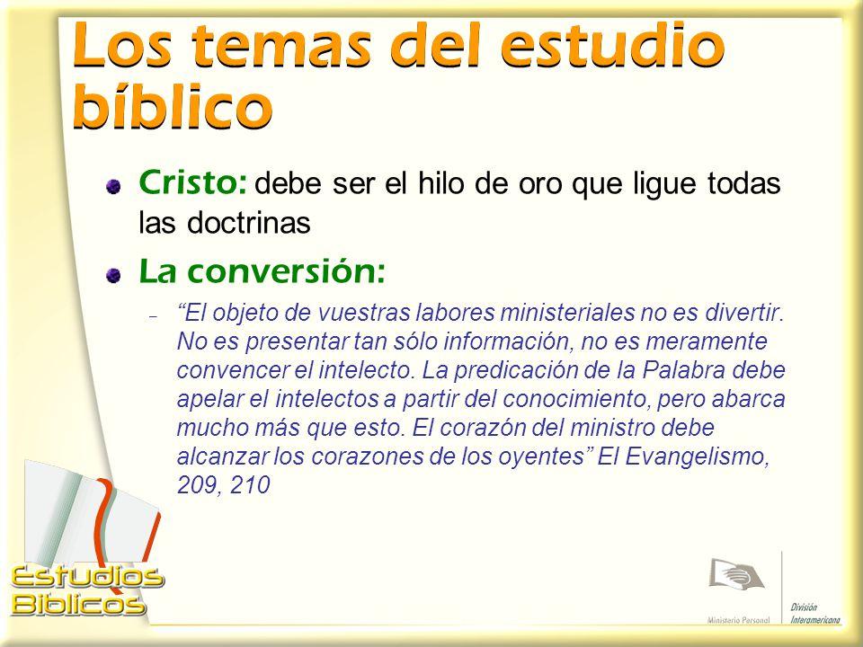 Los temas del estudio bíblico
