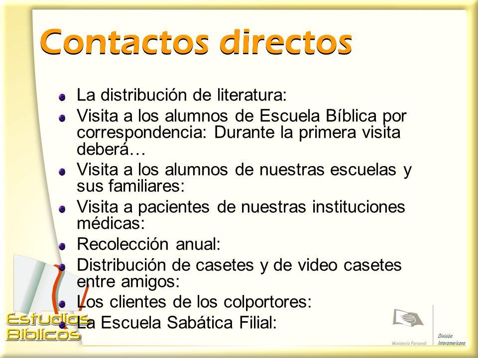 Contactos directos La distribución de literatura: