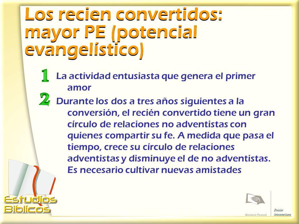 Los recien convertidos: mayor PE (potencial evangelístico)
