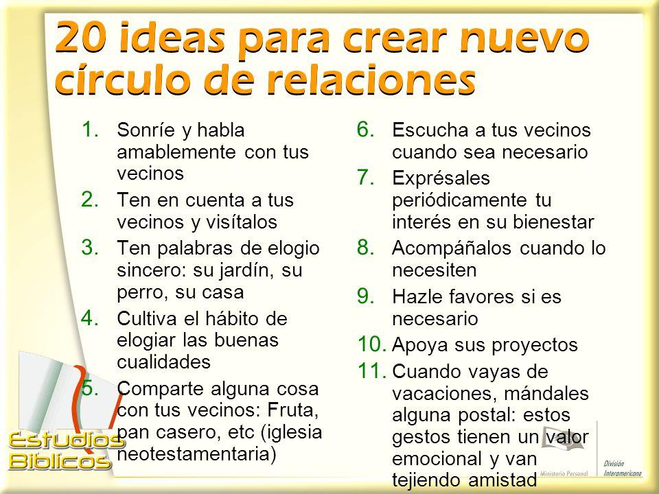 20 ideas para crear nuevo círculo de relaciones