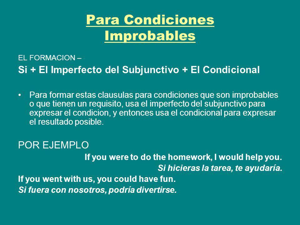 Para Condiciones Improbables