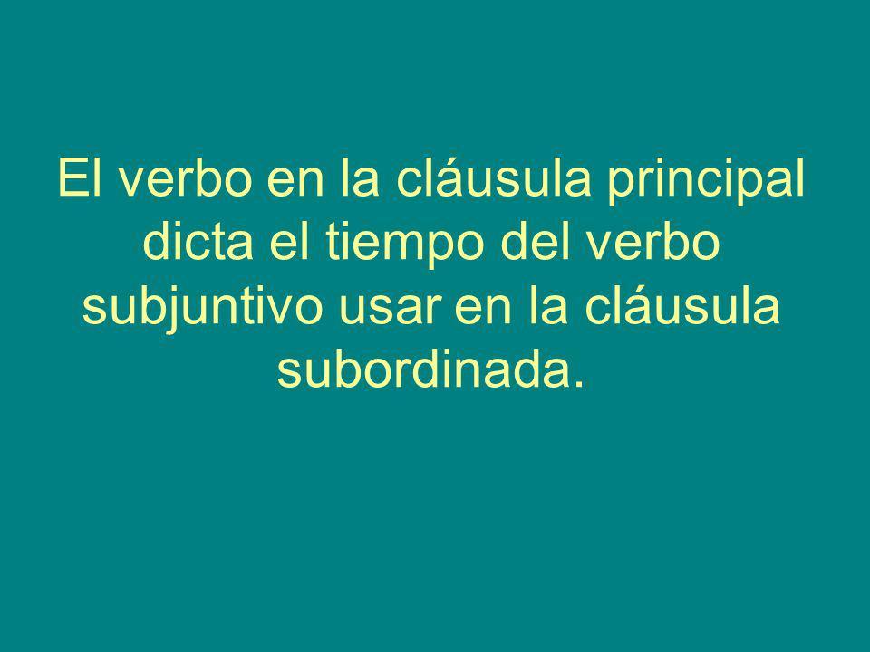 El verbo en la cláusula principal dicta el tiempo del verbo subjuntivo usar en la cláusula subordinada.