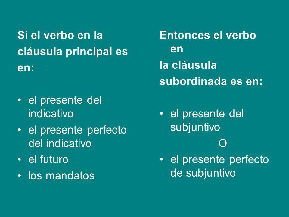 Si el verbo en la cláusula principal es. en: el presente del indicativo. el presente perfecto del indicativo.