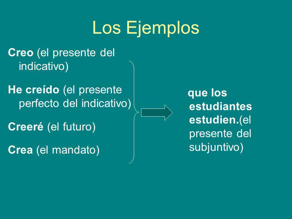 Los Ejemplos Creo (el presente del indicativo)