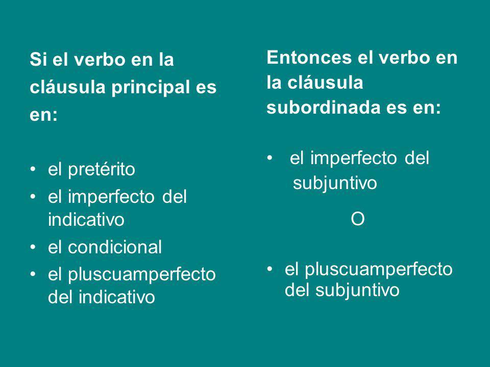 Si el verbo en la cláusula principal es. en: el pretérito. el imperfecto del indicativo. el condicional.