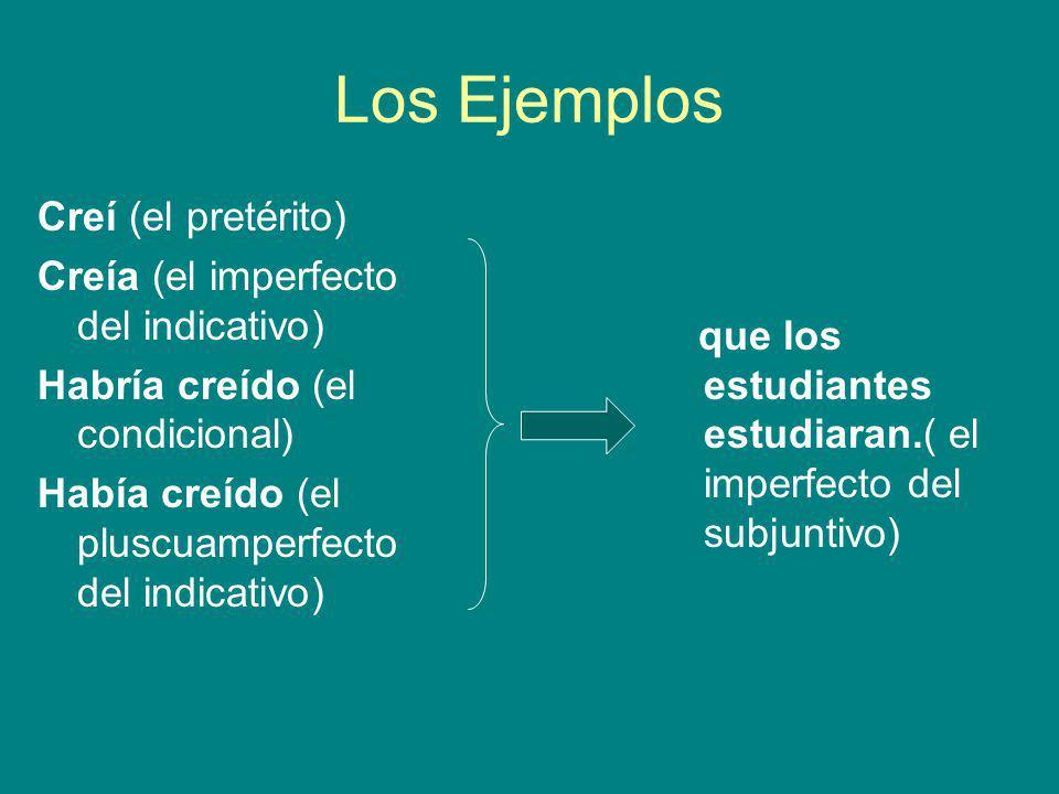 Los Ejemplos Creí (el pretérito) Creía (el imperfecto del indicativo)