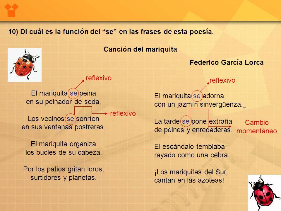 10) Di cuál es la función del se en las frases de esta poesía.