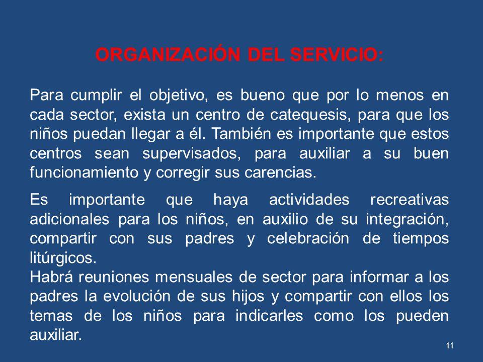 ORGANIZACIÓN DEL SERVICIO: