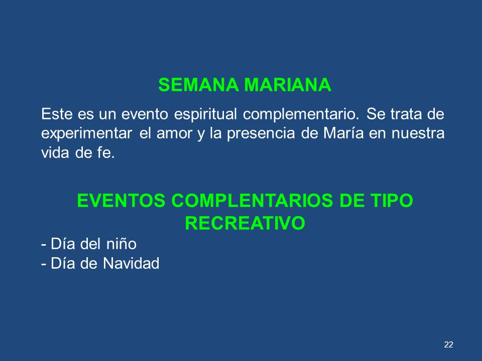 EVENTOS COMPLENTARIOS DE TIPO RECREATIVO