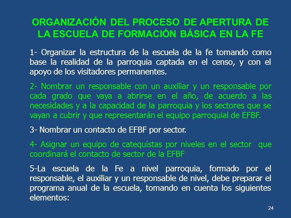 ORGANIZACIÓN DEL PROCESO DE APERTURA DE LA ESCUELA DE FORMACIÓN BÁSICA EN LA FE