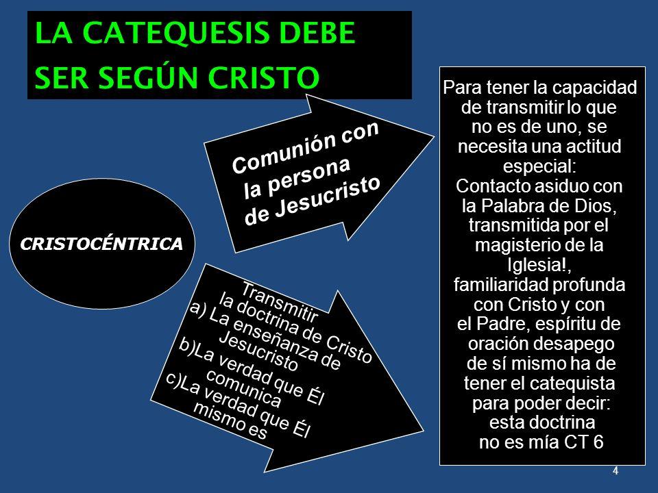 LA CATEQUESIS DEBE SER SEGÚN CRISTO la persona de Jesucristo