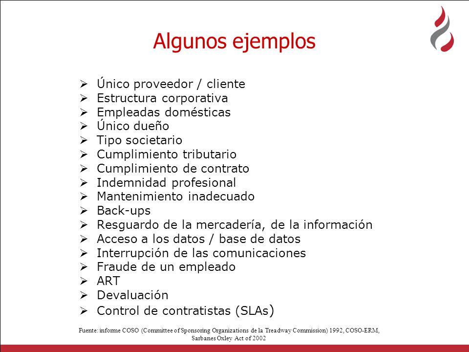 Algunos ejemplos Único proveedor / cliente Estructura corporativa