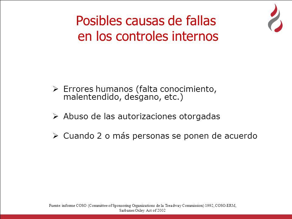 Posibles causas de fallas en los controles internos
