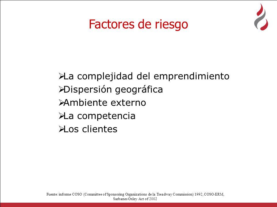 Factores de riesgo La complejidad del emprendimiento