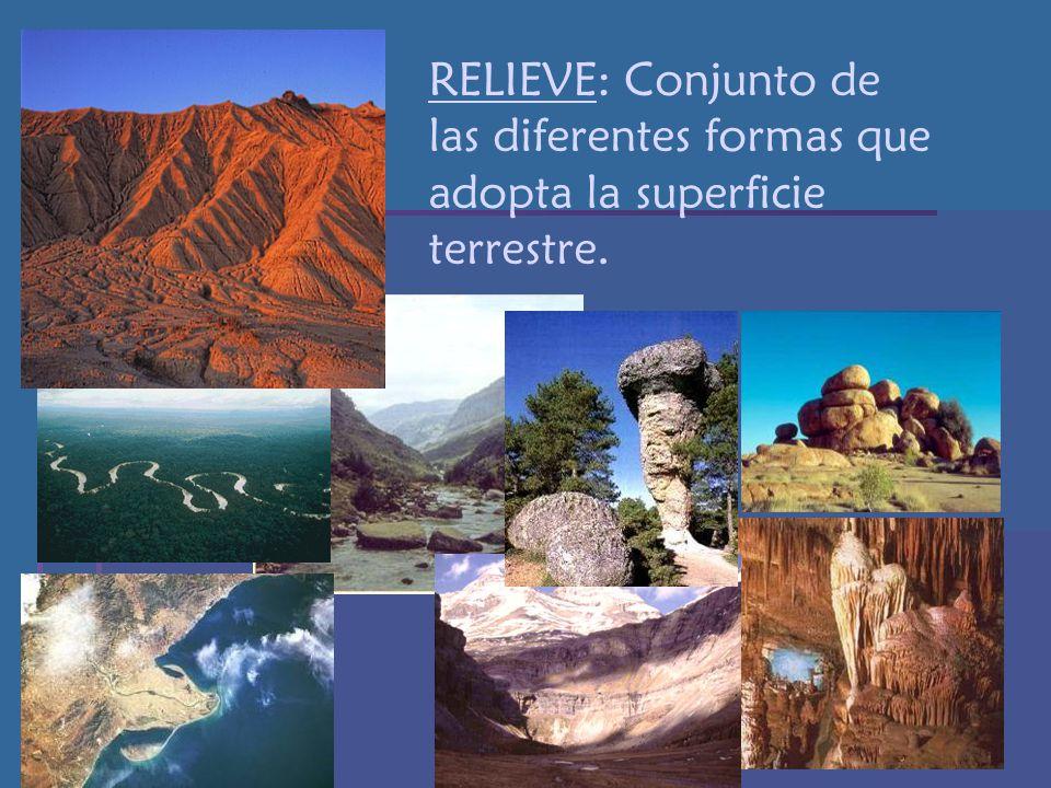 RELIEVE: Conjunto de las diferentes formas que adopta la superficie terrestre.