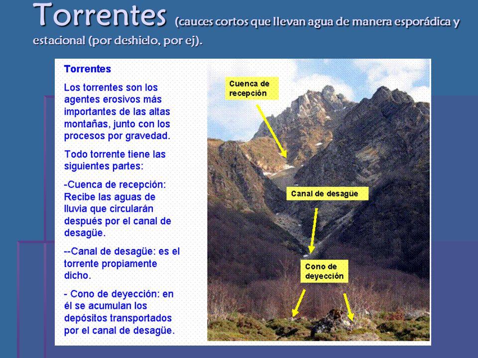 Torrentes (cauces cortos que llevan agua de manera esporádica y estacional (por deshielo, por ej).