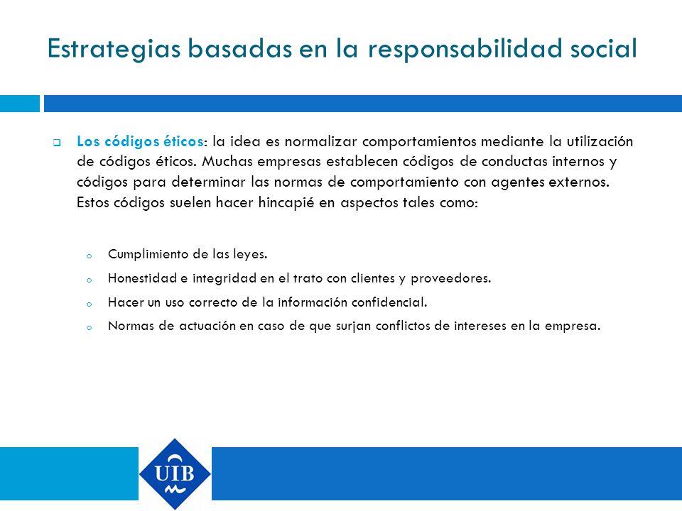 Estrategias basadas en la responsabilidad social