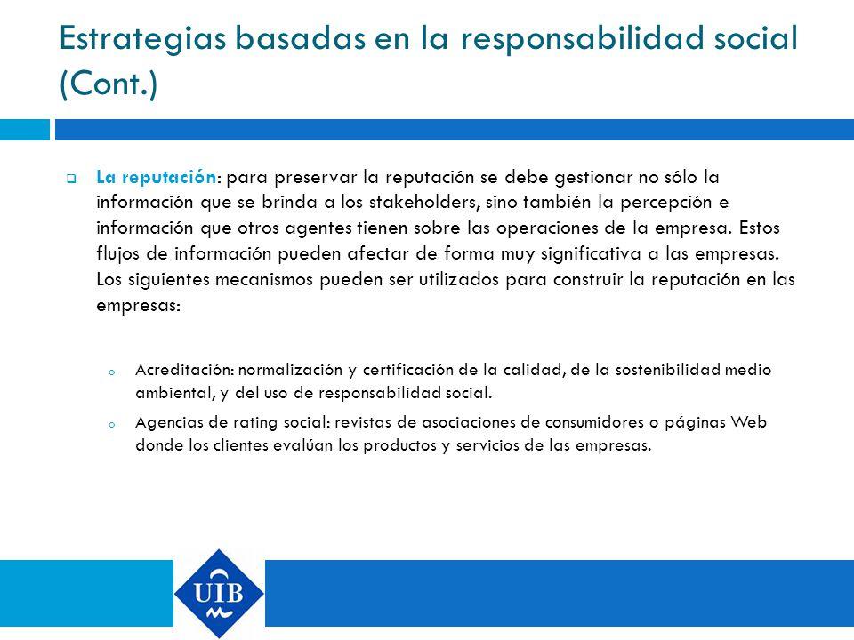 Estrategias basadas en la responsabilidad social (Cont.)