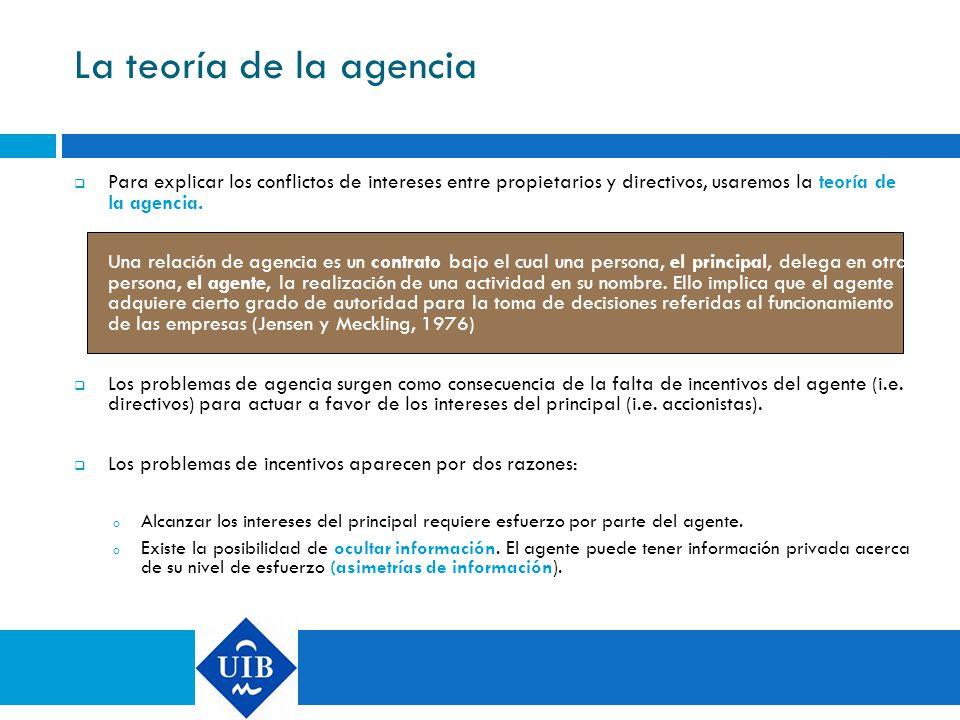 La teoría de la agencia Para explicar los conflictos de intereses entre propietarios y directivos, usaremos la teoría de la agencia.