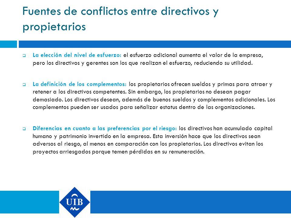 Fuentes de conflictos entre directivos y propietarios