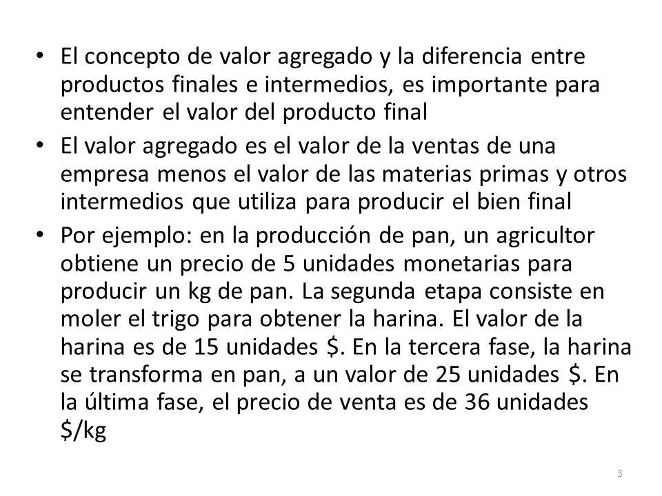 El concepto de valor agregado y la diferencia entre productos finales e intermedios, es importante para entender el valor del producto final