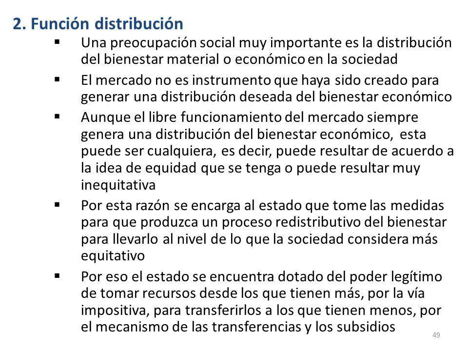 2. Función distribución Una preocupación social muy importante es la distribución del bienestar material o económico en la sociedad.