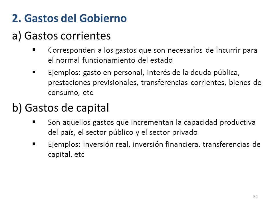 2. Gastos del Gobierno a) Gastos corrientes b) Gastos de capital