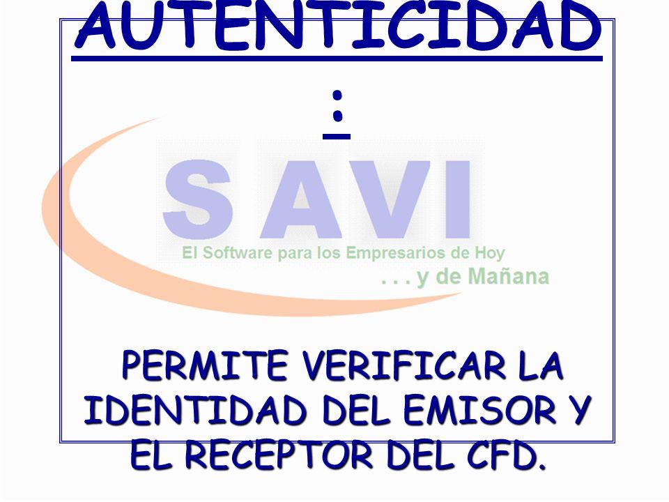 PERMITE VERIFICAR LA IDENTIDAD DEL EMISOR Y EL RECEPTOR DEL CFD.