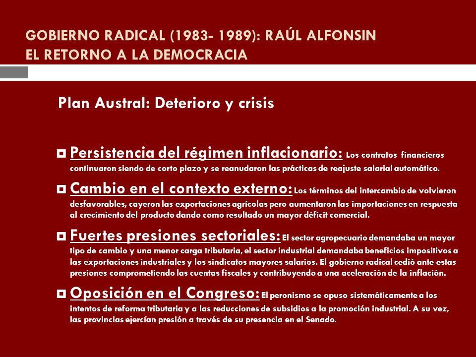 GOBIERNO RADICAL (1983- 1989): RAÚL ALFONSIN EL RETORNO A LA DEMOCRACIA