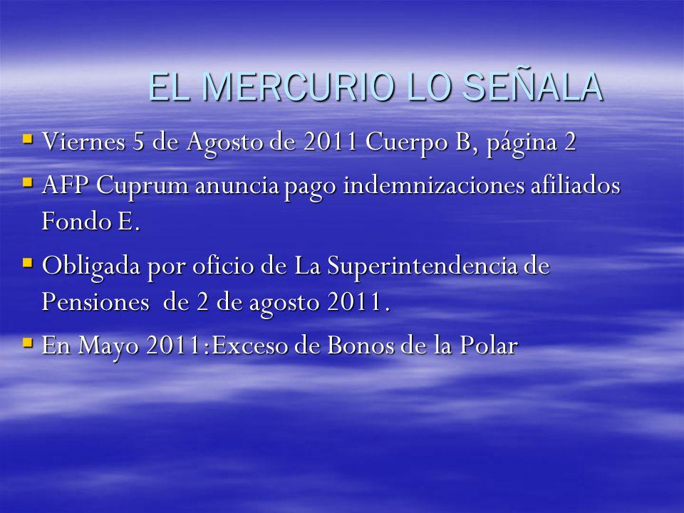 EL MERCURIO LO SEÑALA Viernes 5 de Agosto de 2011 Cuerpo B, página 2