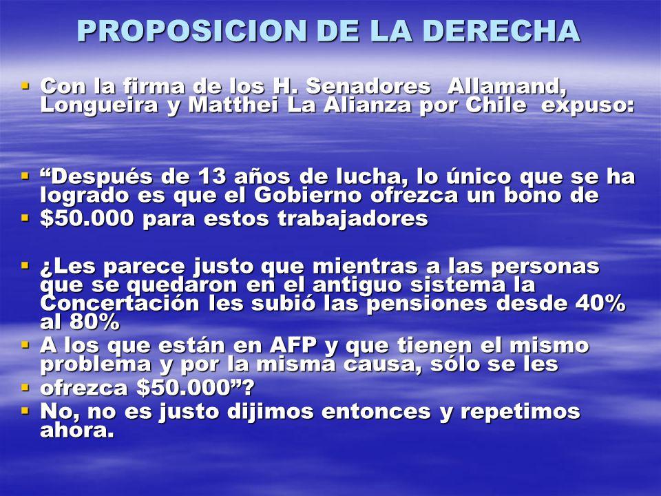 PROPOSICION DE LA DERECHA