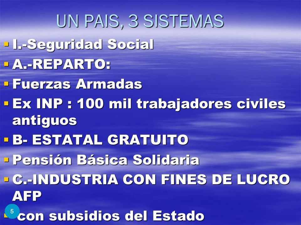 UN PAIS, 3 SISTEMAS I.-Seguridad Social A.-REPARTO: Fuerzas Armadas