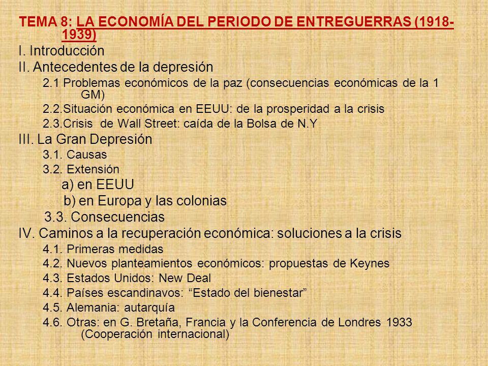 TEMA 8: LA ECONOMÍA DEL PERIODO DE ENTREGUERRAS (1918-1939)