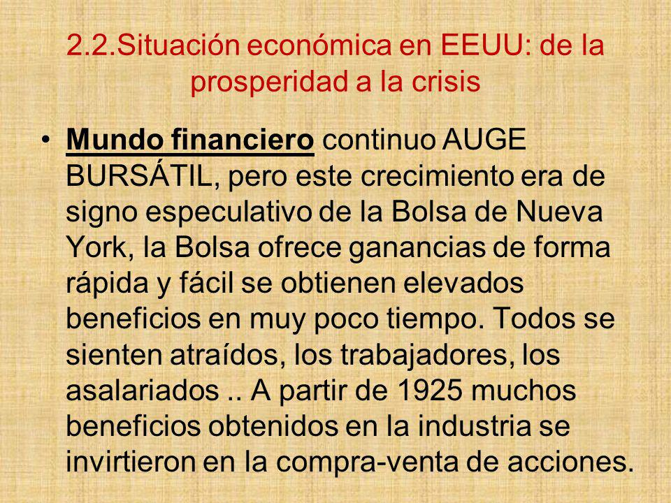 2.2.Situación económica en EEUU: de la prosperidad a la crisis