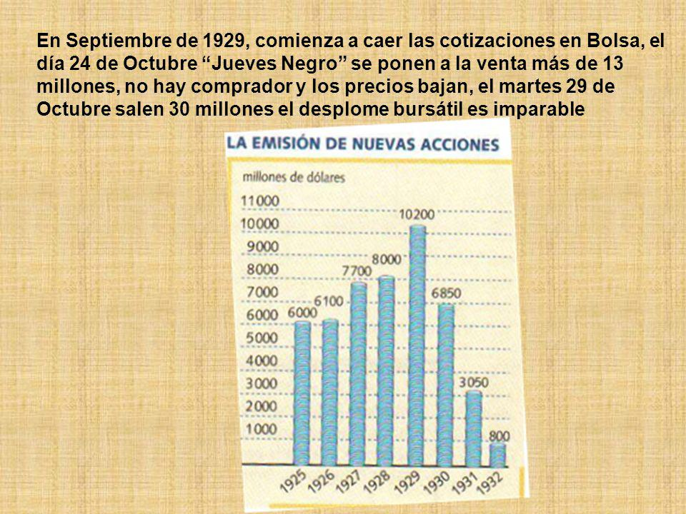 En Septiembre de 1929, comienza a caer las cotizaciones en Bolsa, el día 24 de Octubre Jueves Negro se ponen a la venta más de 13 millones, no hay comprador y los precios bajan, el martes 29 de Octubre salen 30 millones el desplome bursátil es imparable