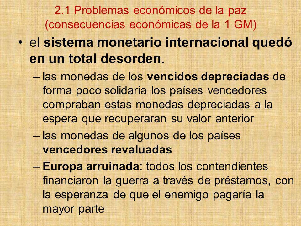 el sistema monetario internacional quedó en un total desorden.