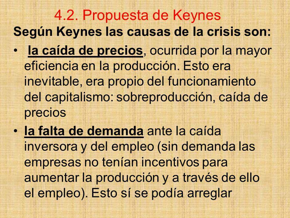 4.2. Propuesta de Keynes Según Keynes las causas de la crisis son: