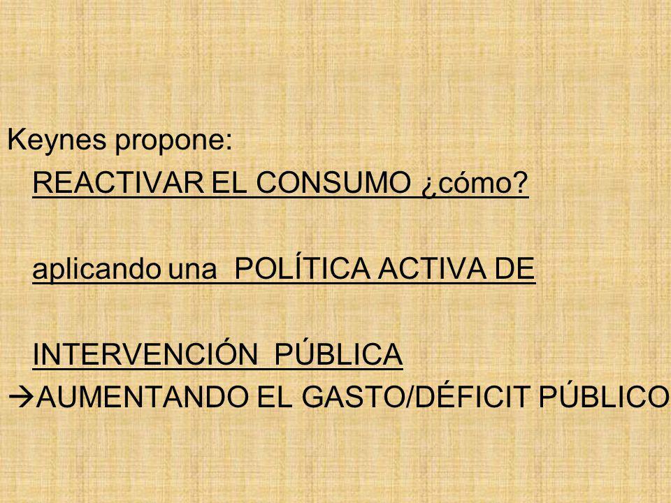 Keynes propone: REACTIVAR EL CONSUMO ¿cómo aplicando una POLÍTICA ACTIVA DE. INTERVENCIÓN PÚBLICA.