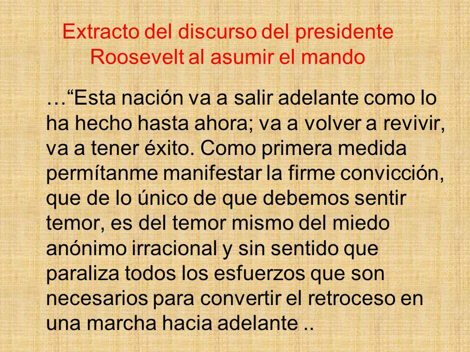 Extracto del discurso del presidente Roosevelt al asumir el mando