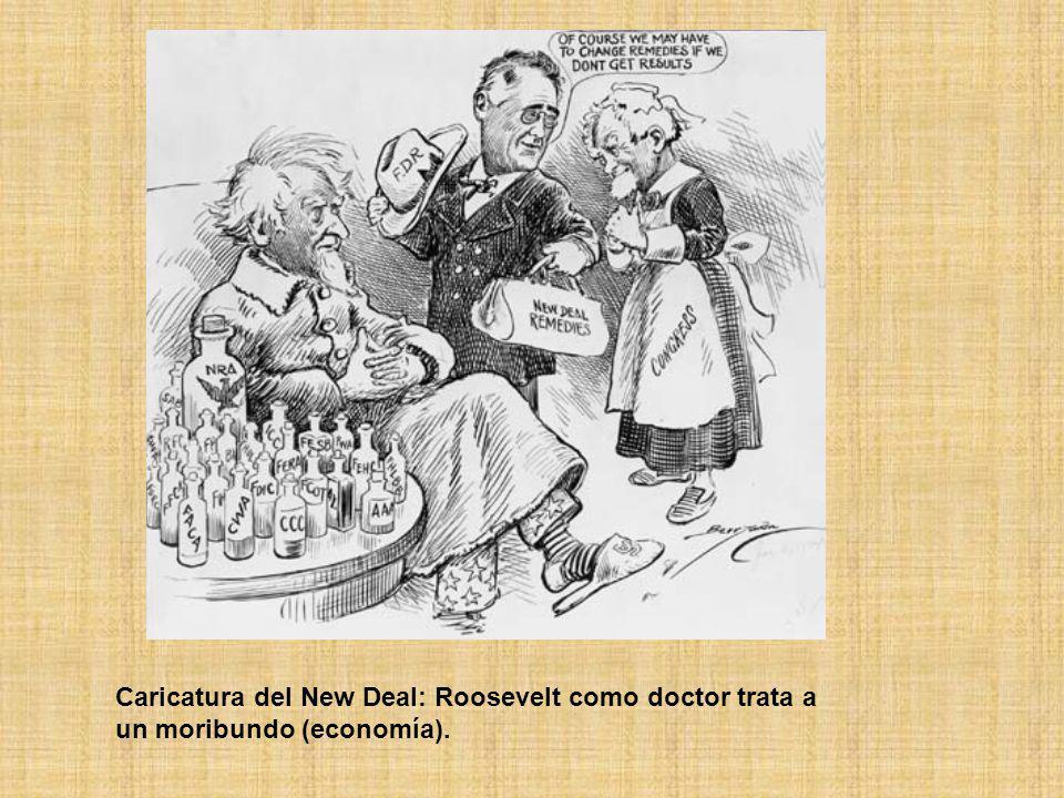 Caricatura del New Deal: Roosevelt como doctor trata a un moribundo (economía).