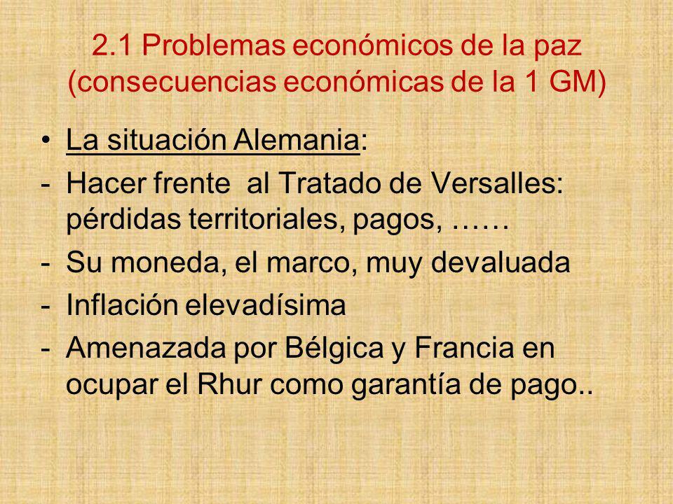 2.1 Problemas económicos de la paz (consecuencias económicas de la 1 GM)