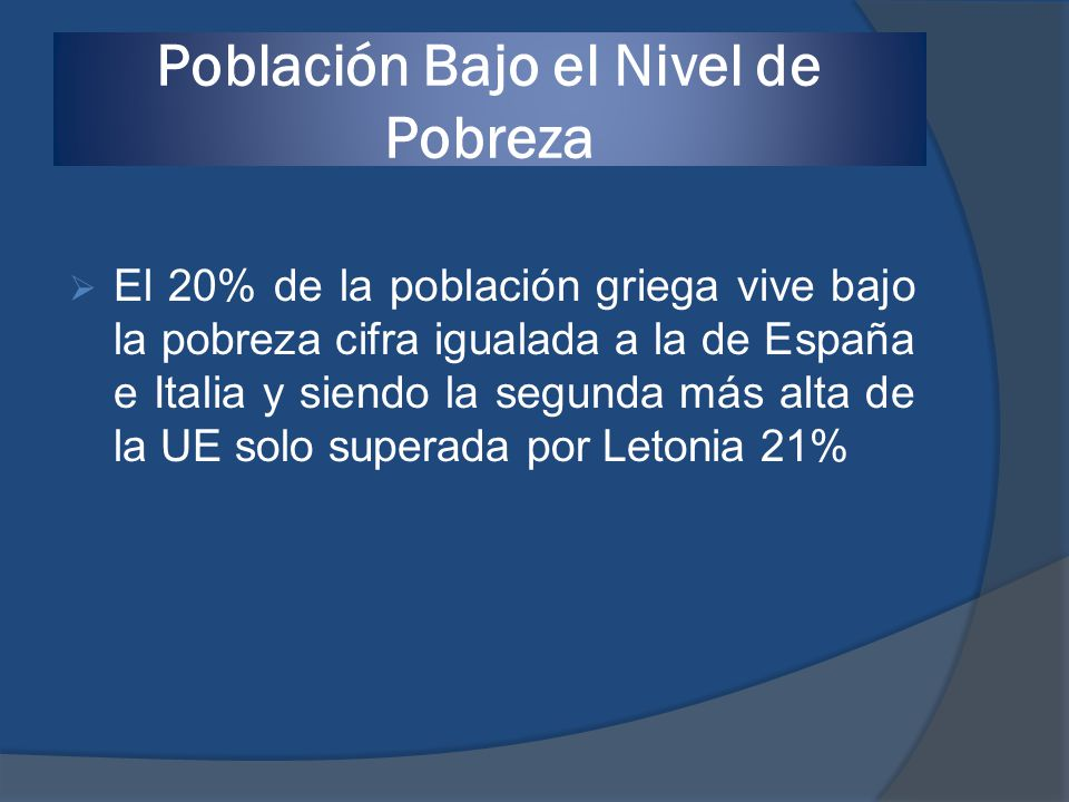 Población Bajo el Nivel de Pobreza
