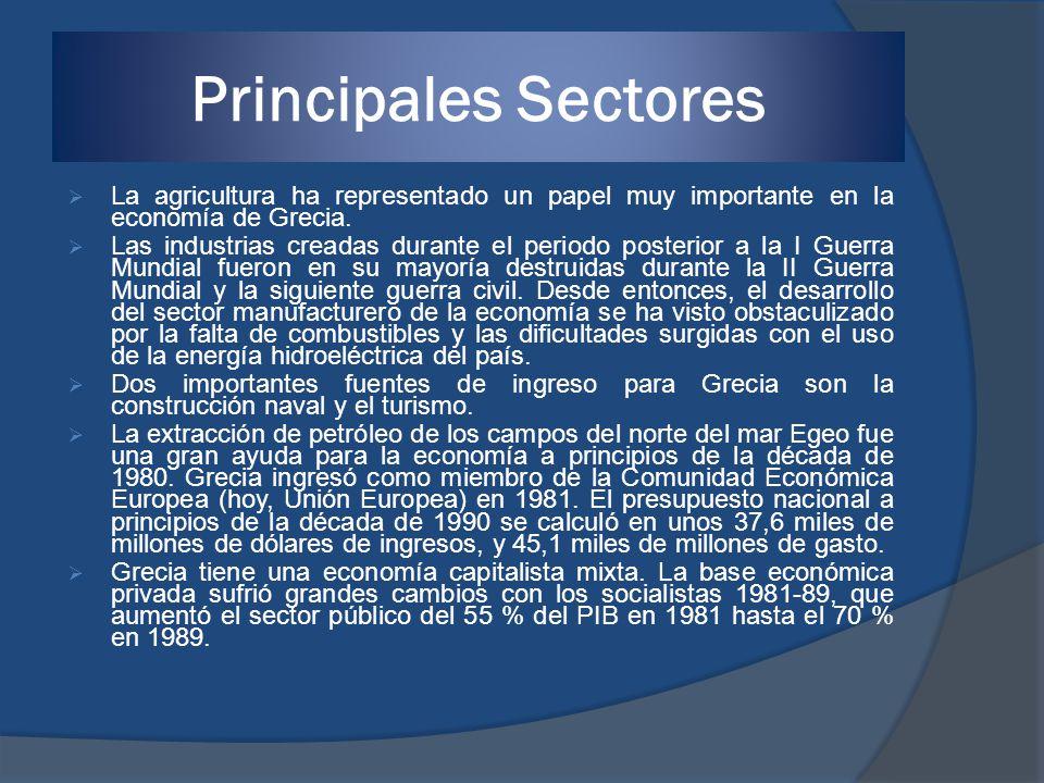 Principales Sectores La agricultura ha representado un papel muy importante en la economía de Grecia.