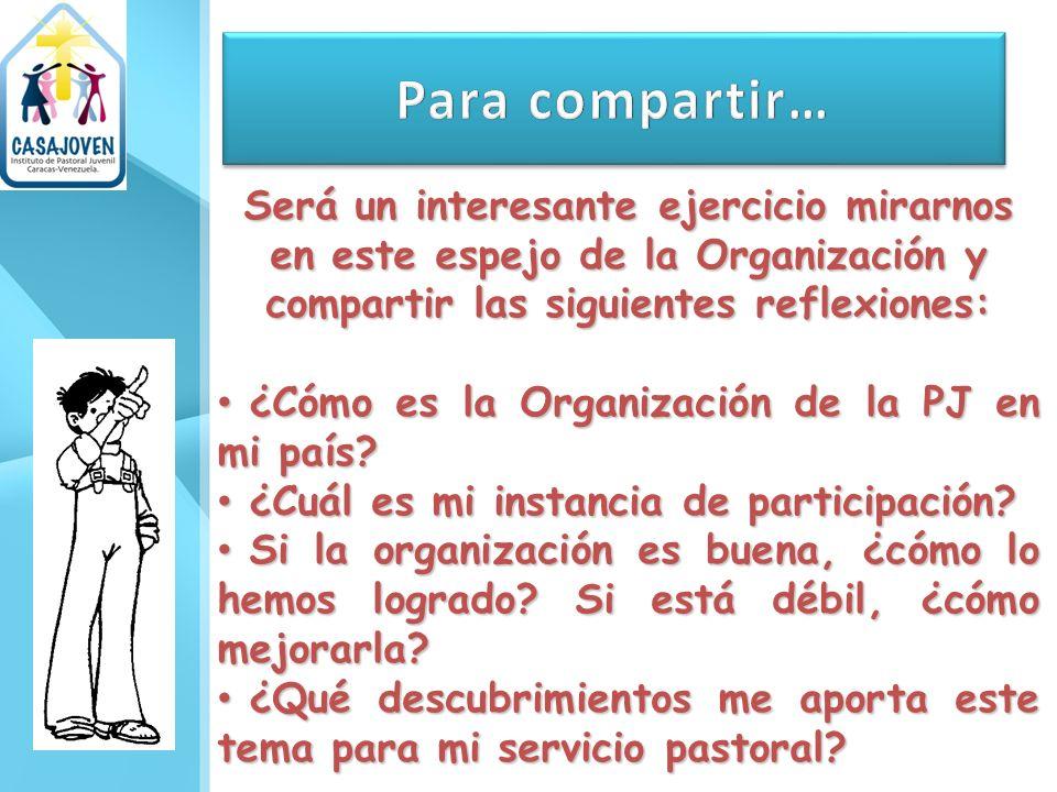 Para compartir… Será un interesante ejercicio mirarnos en este espejo de la Organización y compartir las siguientes reflexiones: