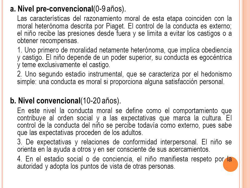 a. Nivel pre-convencional(0-9 años).