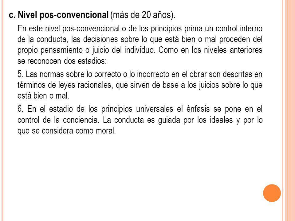c. Nivel pos-convencional (más de 20 años).